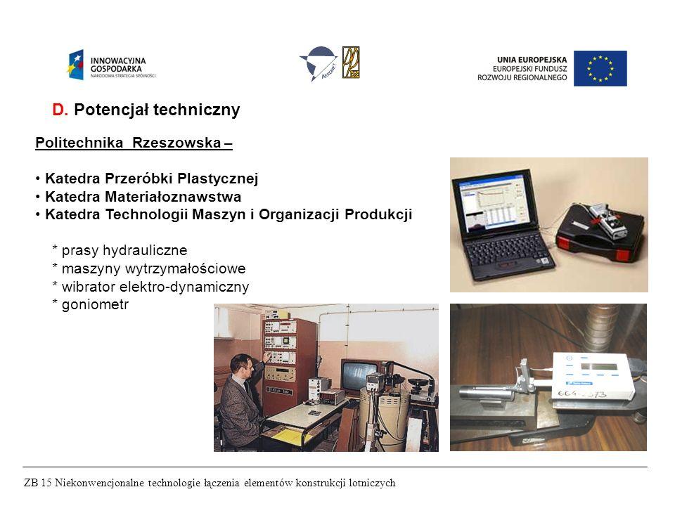 ZB 15 Niekonwencjonalne technologie łączenia elementów konstrukcji lotniczych D. Potencjał techniczny Politechnika Rzeszowska – Katedra Przeróbki Plas