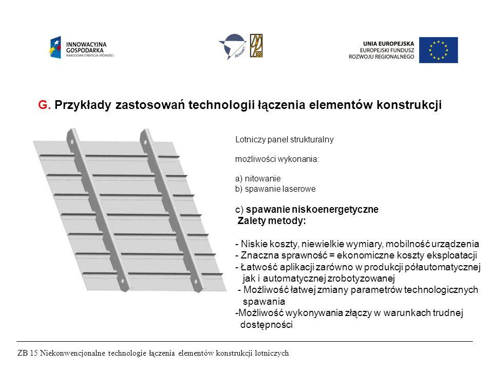 ZB 15 Niekonwencjonalne technologie łączenia elementów konstrukcji lotniczych G. Przykłady zastosowań technologii łączenia elementów konstrukcji Lotni
