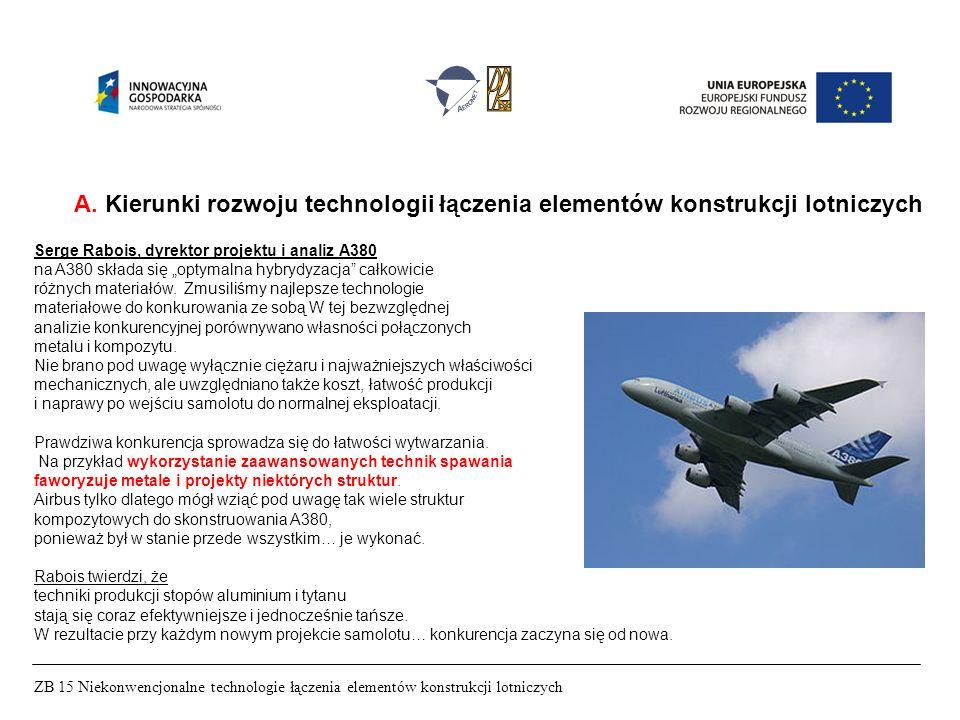 ZB 15 Niekonwencjonalne technologie łączenia elementów konstrukcji lotniczych A. Kierunki rozwoju technologii łączenia elementów konstrukcji lotniczyc