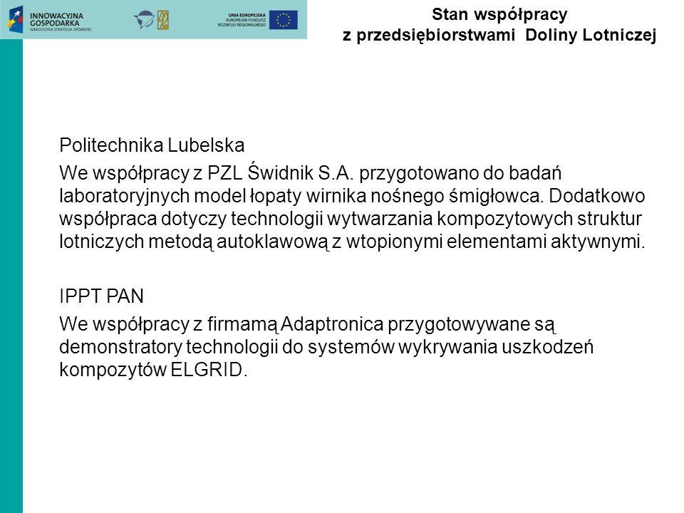 Stan współpracy z przedsiębiorstwami Doliny Lotniczej Politechnika Lubelska We współpracy z PZL Świdnik S.A. przygotowano do badań laboratoryjnych mod