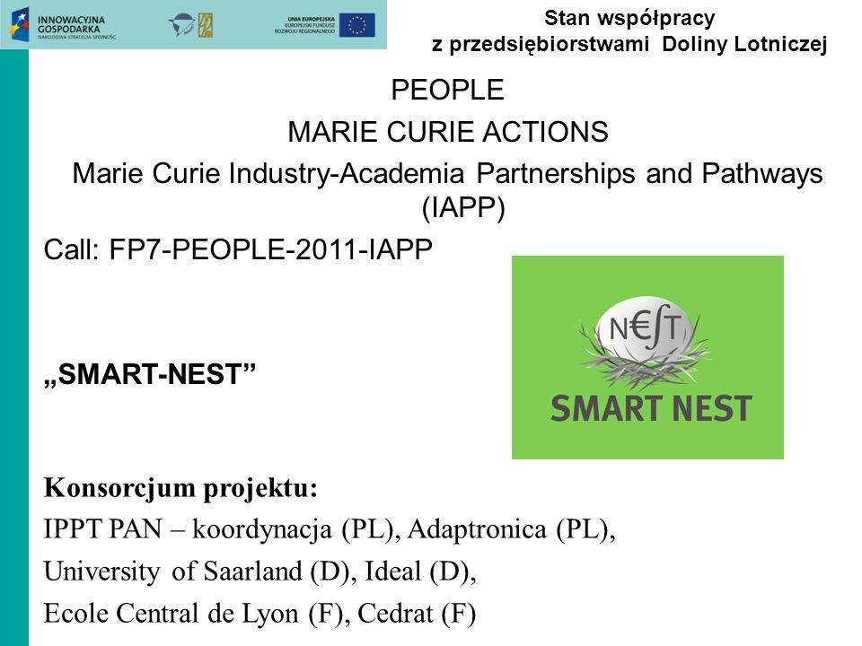 PEOPLE MARIE CURIE ACTIONS Marie Curie Industry-Academia Partnerships and Pathways (IAPP) Call: FP7-PEOPLE-2011-IAPP SMART-NEST Stan współpracy z prze
