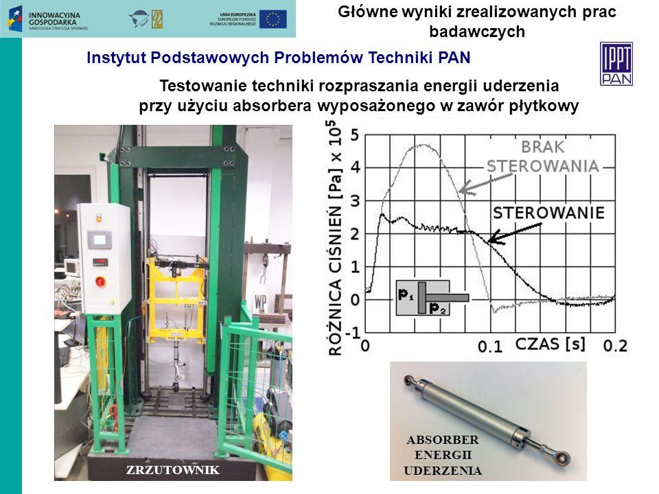 Testowanie techniki rozpraszania energii uderzenia przy użyciu absorbera wyposażonego w zawór płytkowy Główne wyniki zrealizowanych prac badawczych ZR
