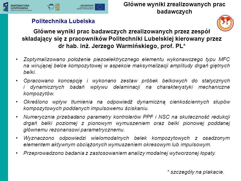 Główne wyniki prac badawczych zrealizowanych przez zespół składający się z pracowników Politechniki Lubelskiej kierowany przez dr hab. inż. Jerzego Wa