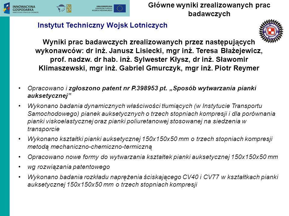 Opracowano i zgłoszono patent nr P.398953 pt. Sposób wytwarzania pianki auksetycznej Wykonano badania dynamicznych właściwości tłumiących (w Instytuci