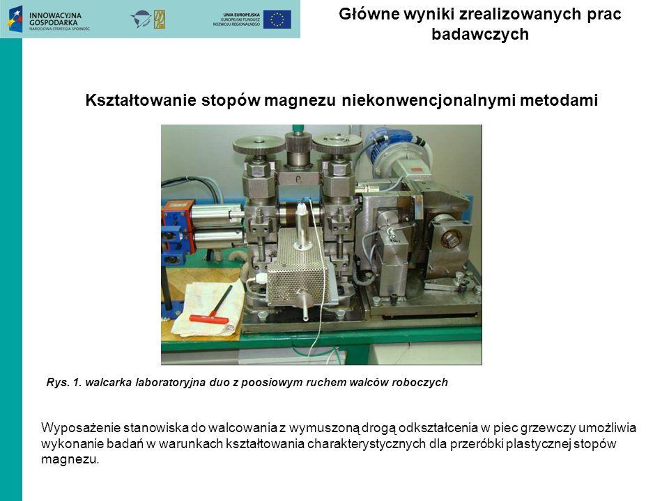 Główne wyniki zrealizowanych prac badawczych Rys. 1. walcarka laboratoryjna duo z poosiowym ruchem walców roboczych Kształtowanie stopów magnezu nieko