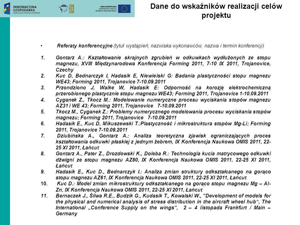 Dane do wskaźników realizacji celów projektu Referaty konferencyjne (tytuł wystąpień, nazwiska wykonawców, nazwa i termin konferencji) 1.Gontarz A.: K