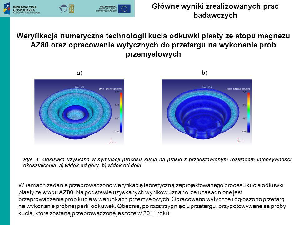 Główne wyniki zrealizowanych prac badawczych Rys. 1. Odkuwka uzyskana w symulacji procesu kucia na prasie z przedstawionym rozkładem intensywności okd