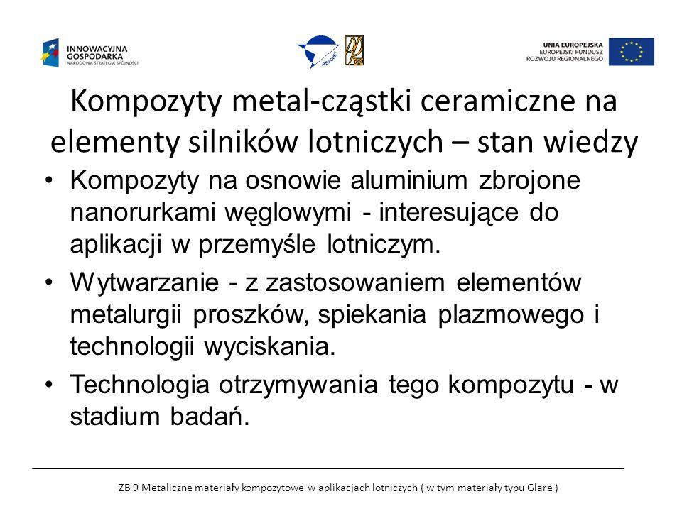 Kompozyty metal-cząstki ceramiczne na elementy silników lotniczych – stan wiedzy Kompozyty na osnowie aluminium zbrojone nanorurkami węglowymi - interesujące do aplikacji w przemyśle lotniczym.