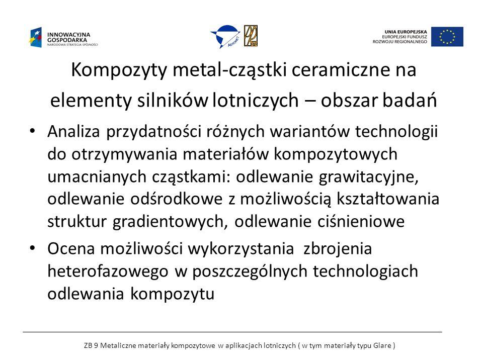Kompozyty metal-cząstki ceramiczne na elementy silników lotniczych – obszar badań Analiza przydatności różnych wariantów technologii do otrzymywania materiałów kompozytowych umacnianych cząstkami: odlewanie grawitacyjne, odlewanie odśrodkowe z możliwością kształtowania struktur gradientowych, odlewanie ciśnieniowe Ocena możliwości wykorzystania zbrojenia heterofazowego w poszczególnych technologiach odlewania kompozytu ZB 9 Metaliczne materia ł y kompozytowe w aplikacjach lotniczych ( w tym materia ł y typu Glare )