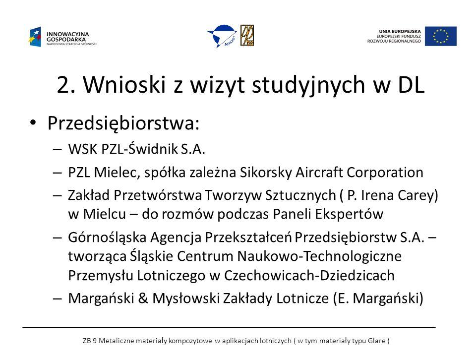 2. Wnioski z wizyt studyjnych w DL Przedsiębiorstwa: – WSK PZL-Świdnik S.A.