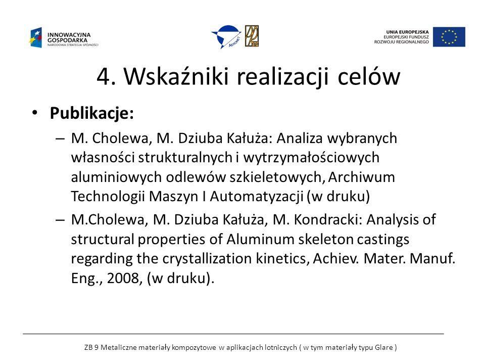 4. Wskaźniki realizacji celów Publikacje: – M. Cholewa, M.