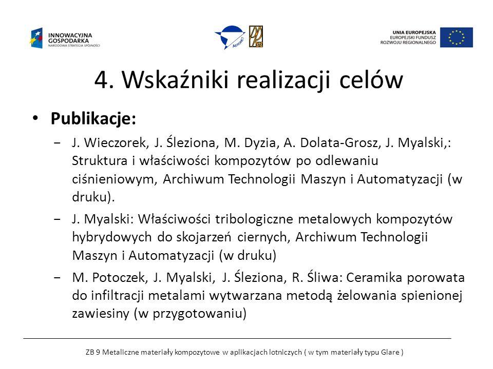 4. Wskaźniki realizacji celów Publikacje: J. Wieczorek, J.