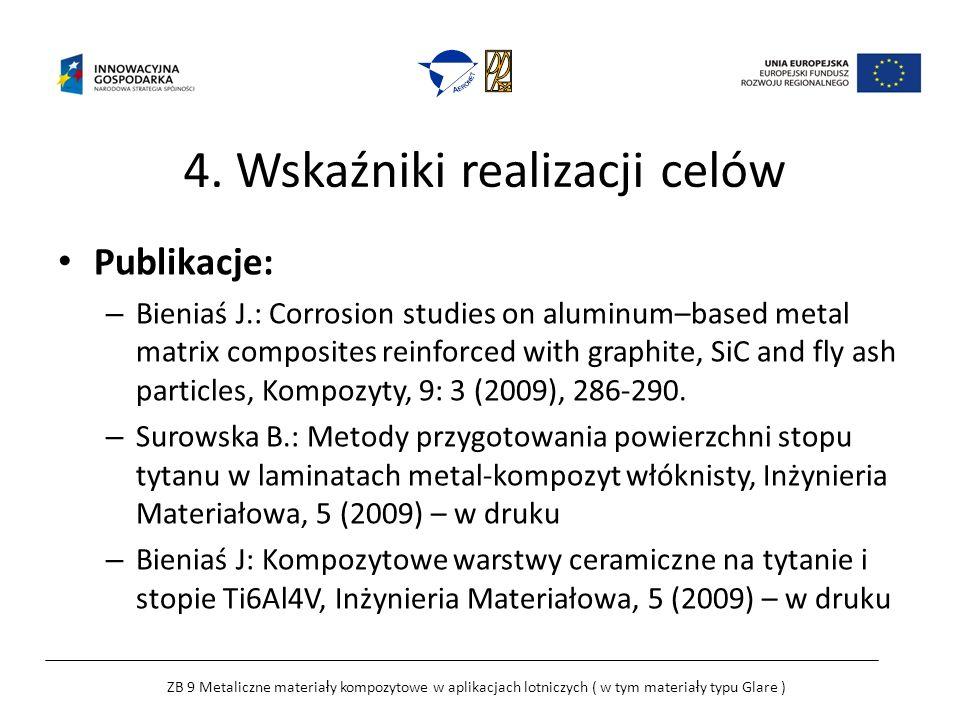 4. Wskaźniki realizacji celów Publikacje: – Bieniaś J.: Corrosion studies on aluminum–based metal matrix composites reinforced with graphite, SiC and