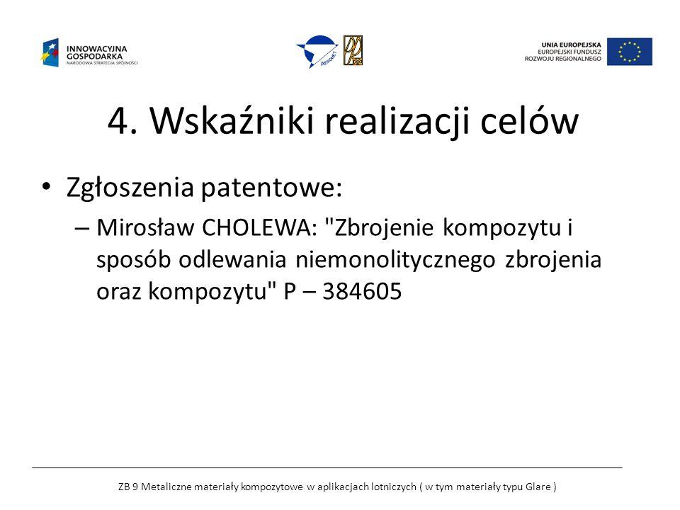 4. Wskaźniki realizacji celów Zgłoszenia patentowe: – Mirosław CHOLEWA:
