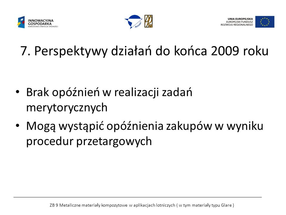 7. Perspektywy działań do końca 2009 roku Brak opóźnień w realizacji zadań merytorycznych Mogą wystąpić opóźnienia zakupów w wyniku procedur przetargo