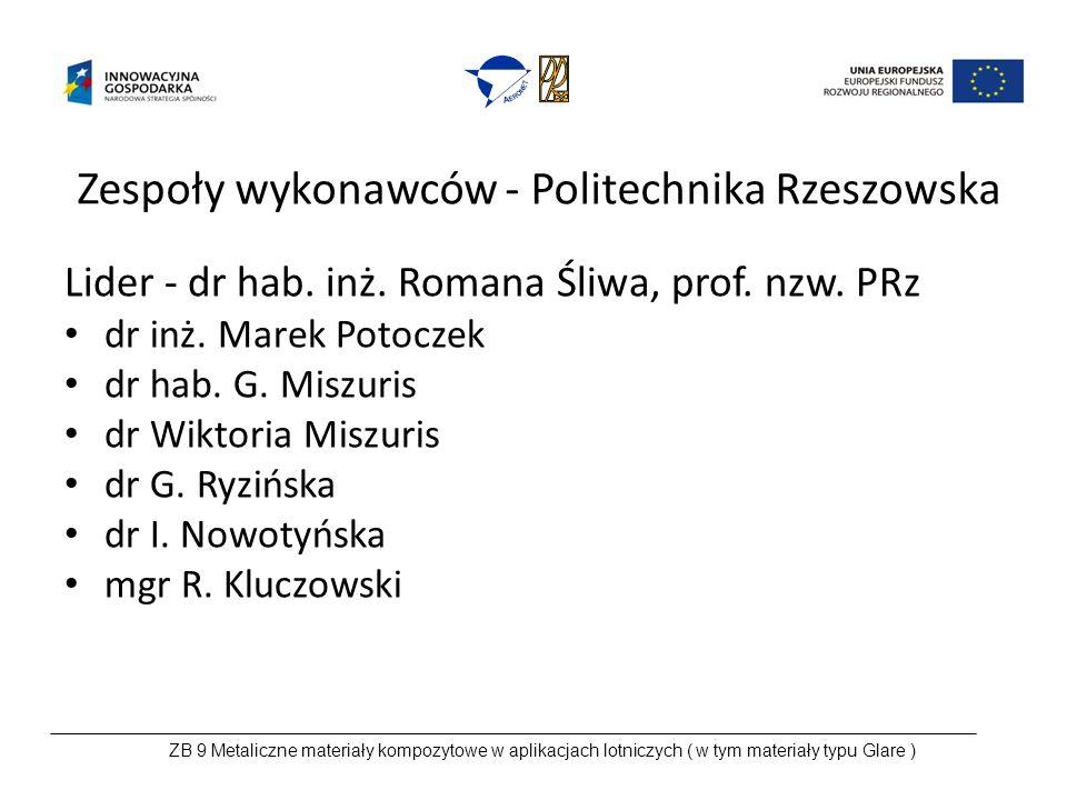Zespoły wykonawców - Politechnika Rzeszowska Lider - dr hab.