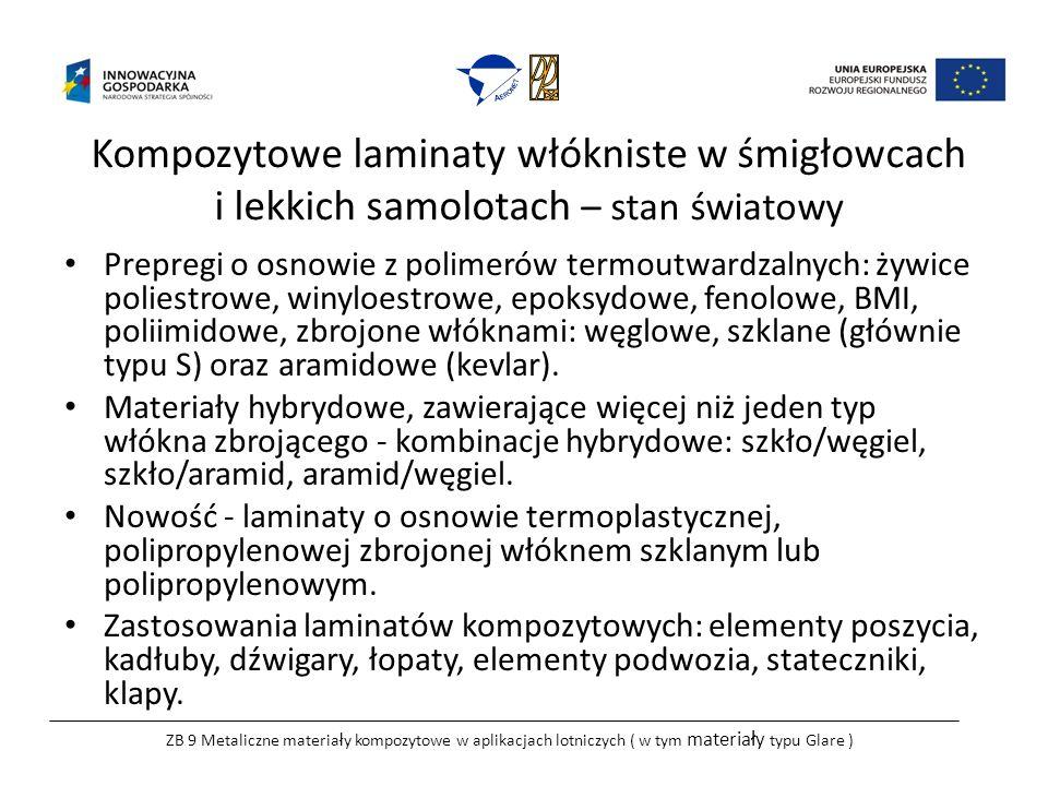 Kompozytowe laminaty włókniste w śmigłowcach i lekkich samolotach – stan światowy Prepregi o osnowie z polimerów termoutwardzalnych: żywice poliestrowe, winyloestrowe, epoksydowe, fenolowe, BMI, poliimidowe, zbrojone włóknami: węglowe, szklane (głównie typu S) oraz aramidowe (kevlar).
