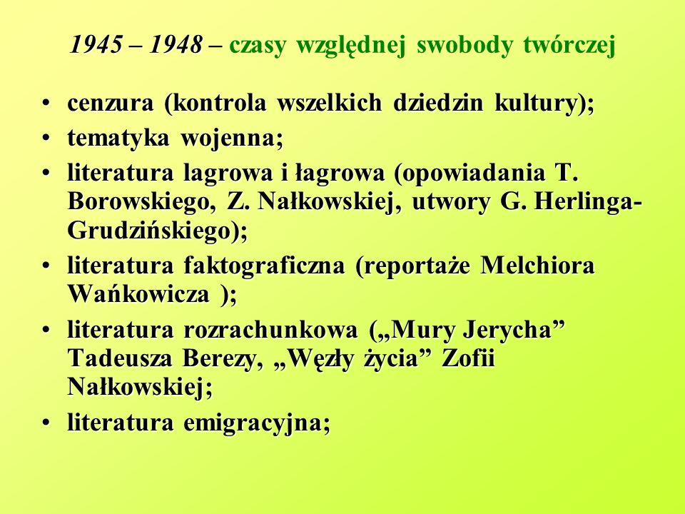 1945 – 1948 1945 – 1948 – czasy względnej swobody twórczej cenzura (kontrola wszelkich dziedzin kultury);cenzura (kontrola wszelkich dziedzin kultury)