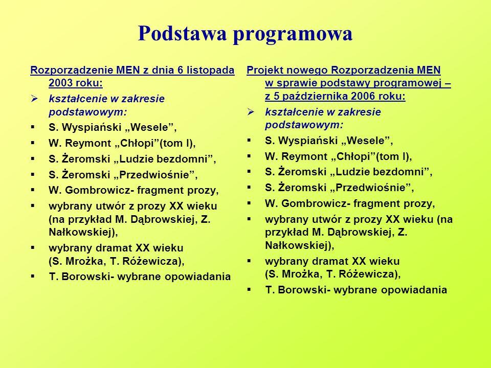 Podstawa programowa Rozporządzenie MEN z dnia 6 listopada 2003 roku: kształcenie w zakresie podstawowym: S. Wyspiański Wesele, W. Reymont Chłopi(tom I