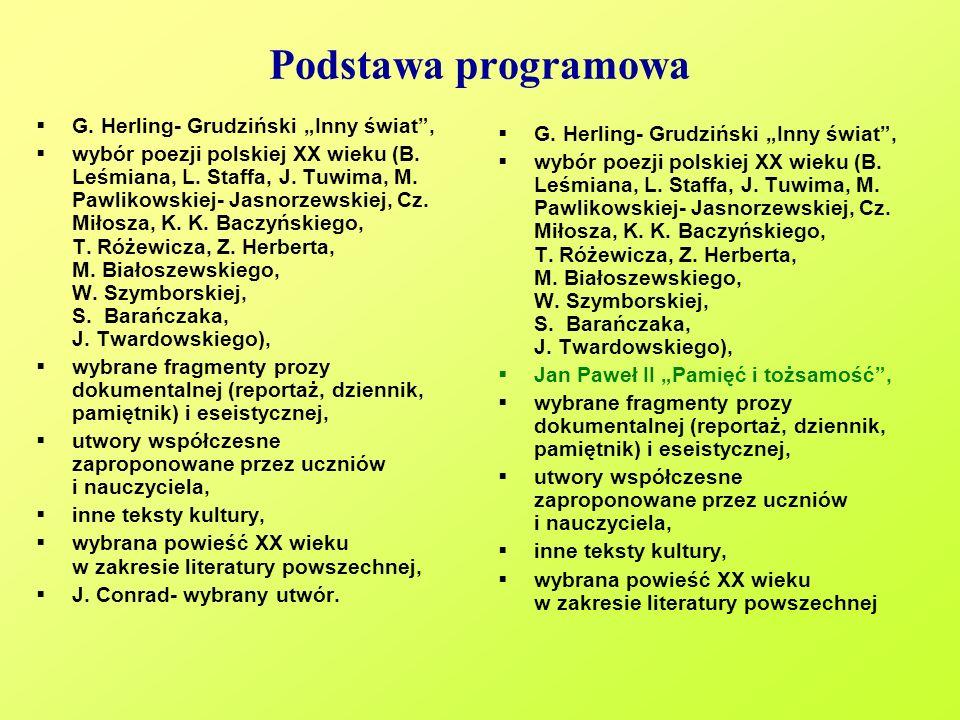Podstawa programowa G. Herling- Grudziński Inny świat, wybór poezji polskiej XX wieku (B. Leśmiana, L. Staffa, J. Tuwima, M. Pawlikowskiej- Jasnorzews
