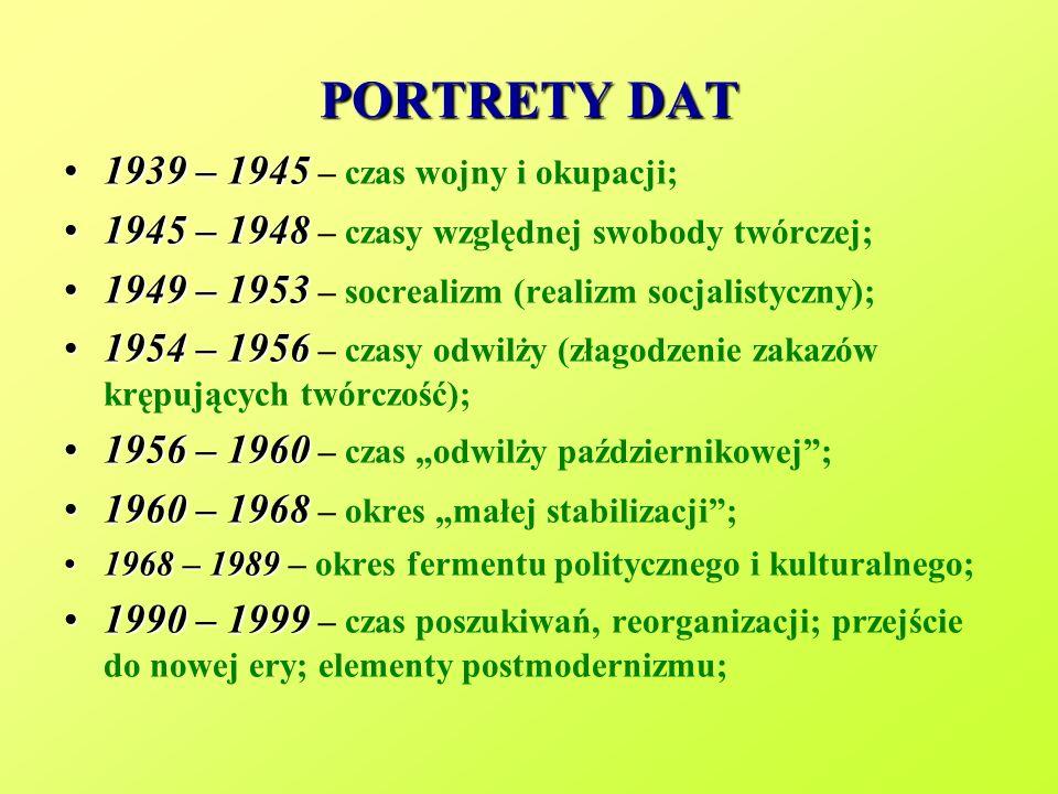 PORTRETY DAT 1939 – 19451939 – 1945 – czas wojny i okupacji; 1945 – 19481945 – 1948 – czasy względnej swobody twórczej; 1949 – 19531949 – 1953 – socre