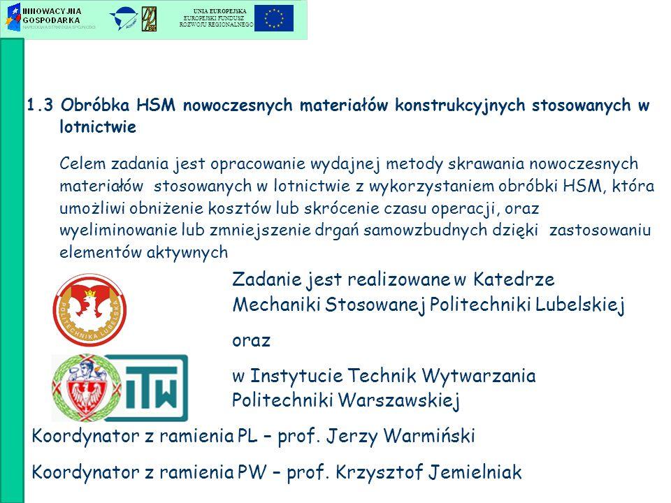 Zadanie jest realizowane w Katedrze Mechaniki Stosowanej Politechniki Lubelskiej oraz w Instytucie Technik Wytwarzania Politechniki Warszawskiej Koord