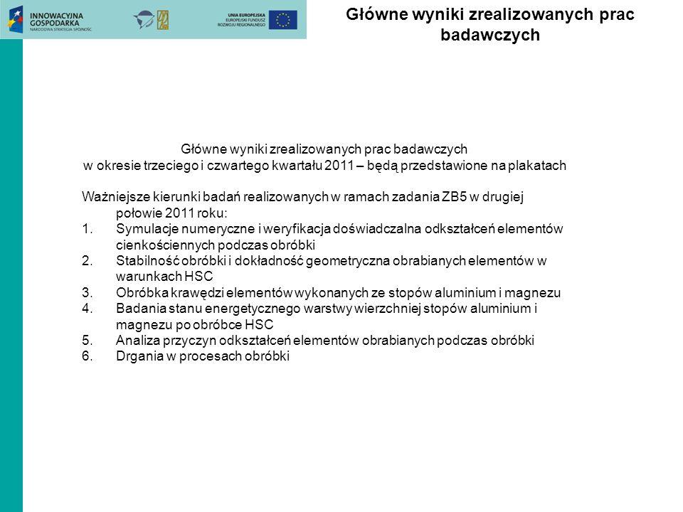 Główne wyniki zrealizowanych prac badawczych w okresie trzeciego i czwartego kwartału 2011 – będą przedstawione na plakatach Ważniejsze kierunki badań