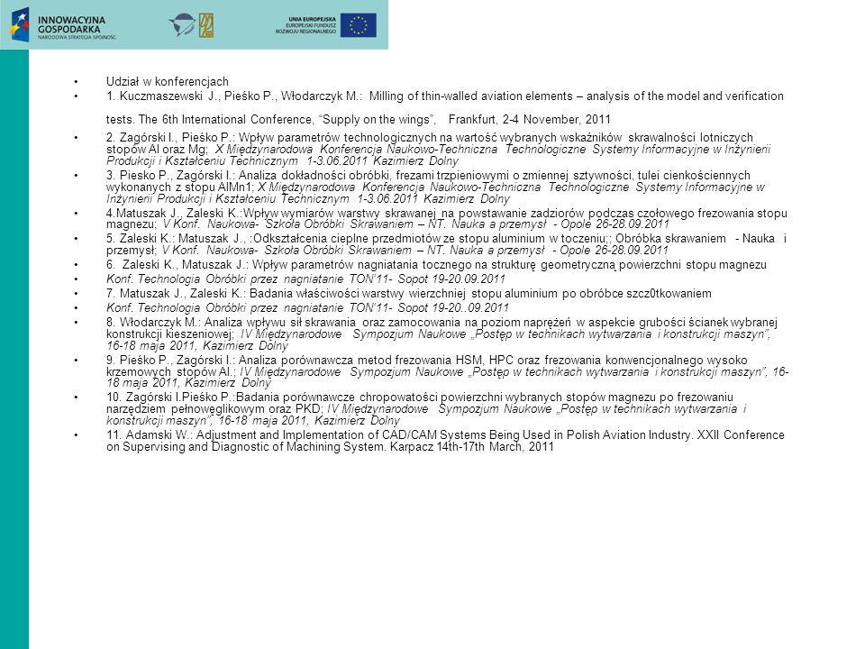 Udział w konferencjach 1. Kuczmaszewski J., Pieśko P., Włodarczyk M.: Milling of thin-walled aviation elements – analysis of the model and verificatio