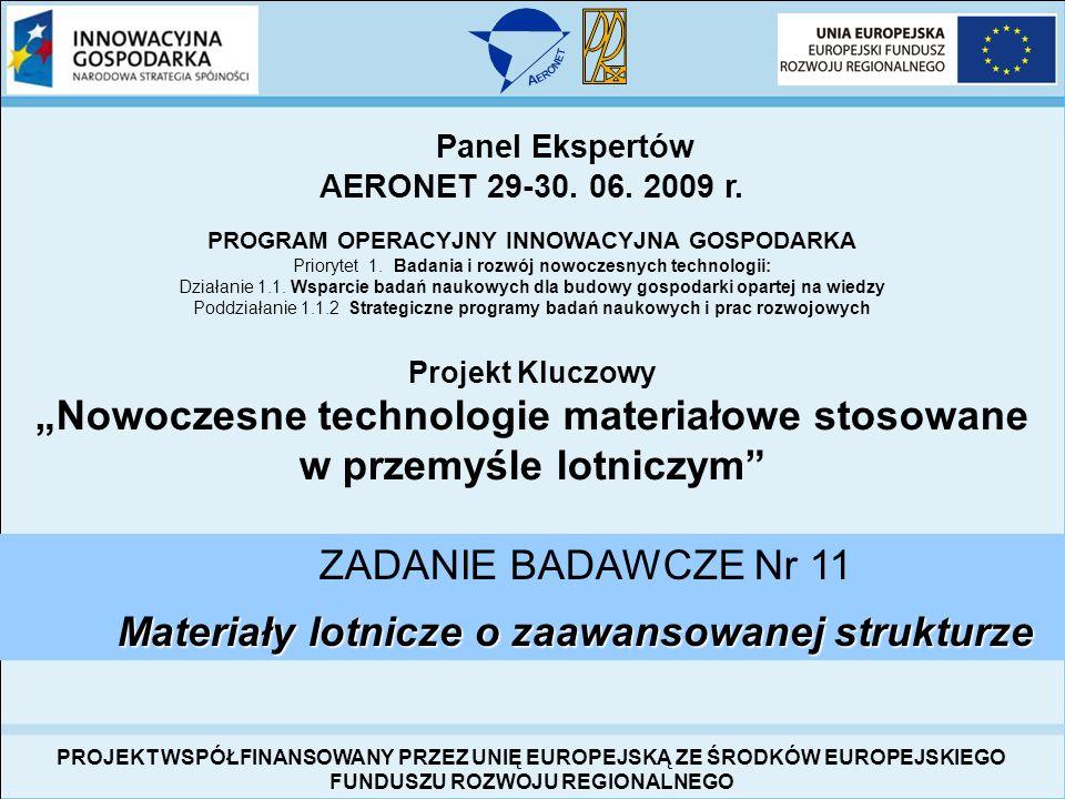 Panel Ekspertów AERONET 29-30. 06. 2009 r. PROGRAM OPERACYJNY INNOWACYJNA GOSPODARKA Priorytet 1. Badania i rozwój nowoczesnych technologii: Działanie