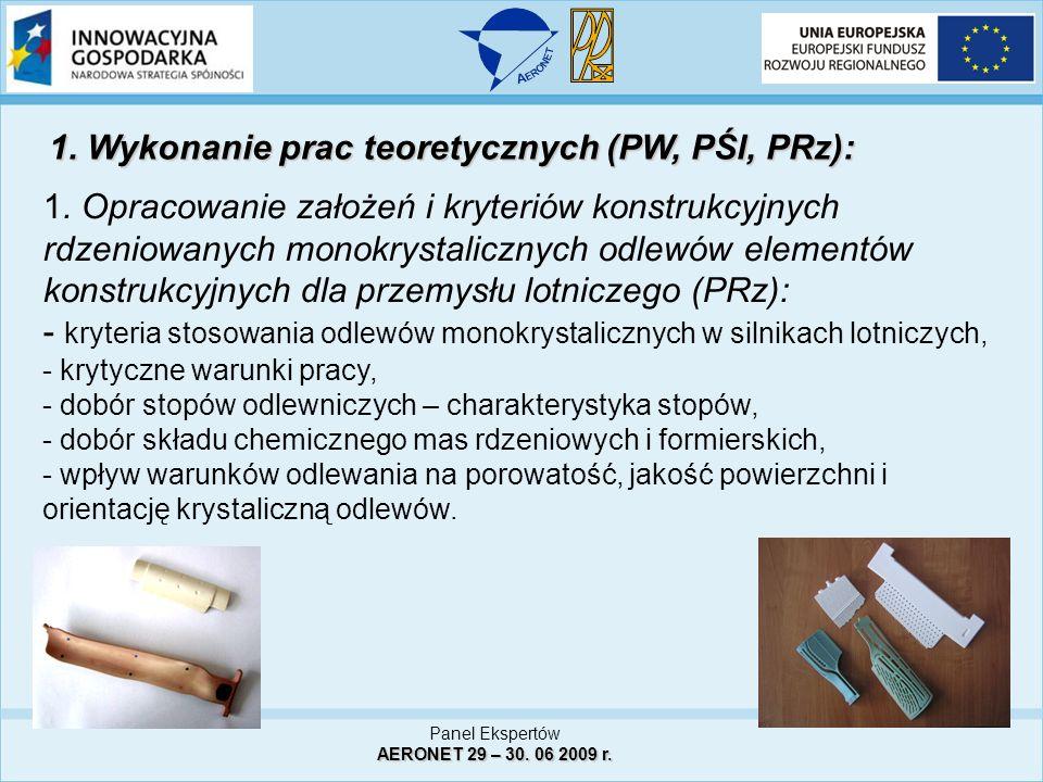 Panel Ekspertów AERONET 29 – 30. 06 2009 r. 1. Opracowanie założeń i kryteriów konstrukcyjnych rdzeniowanych monokrystalicznych odlewów elementów kons