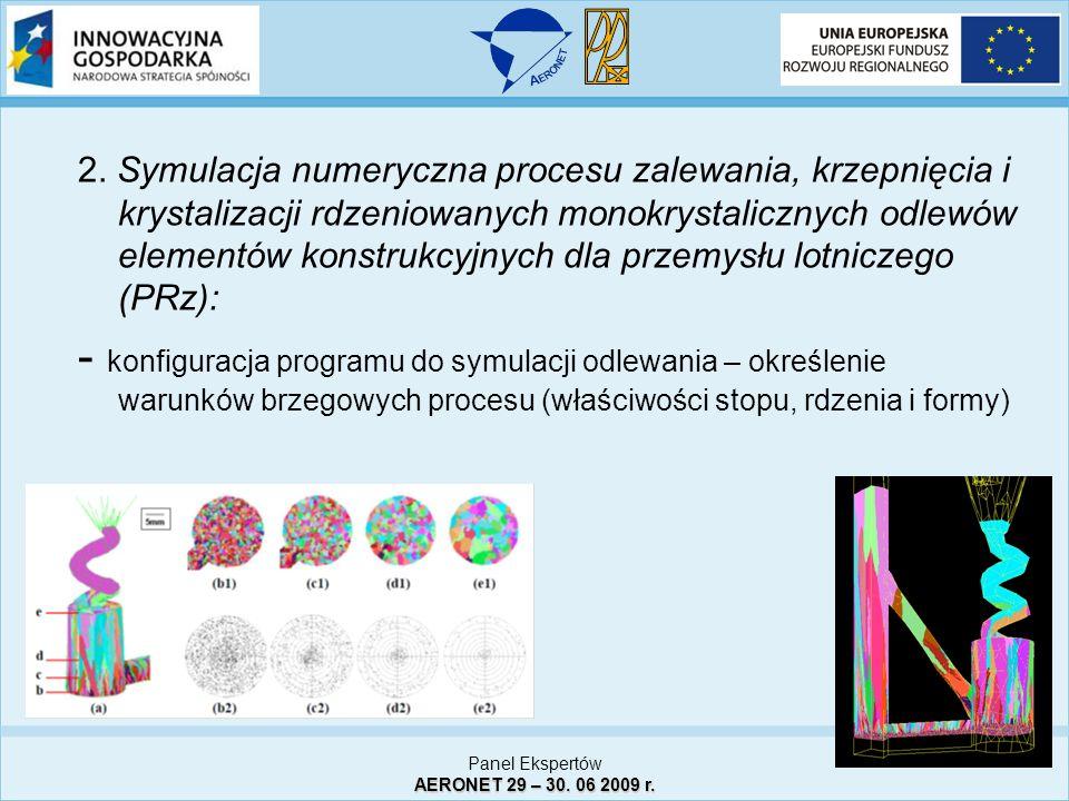 2. Symulacja numeryczna procesu zalewania, krzepnięcia i krystalizacji rdzeniowanych monokrystalicznych odlewów elementów konstrukcyjnych dla przemysł