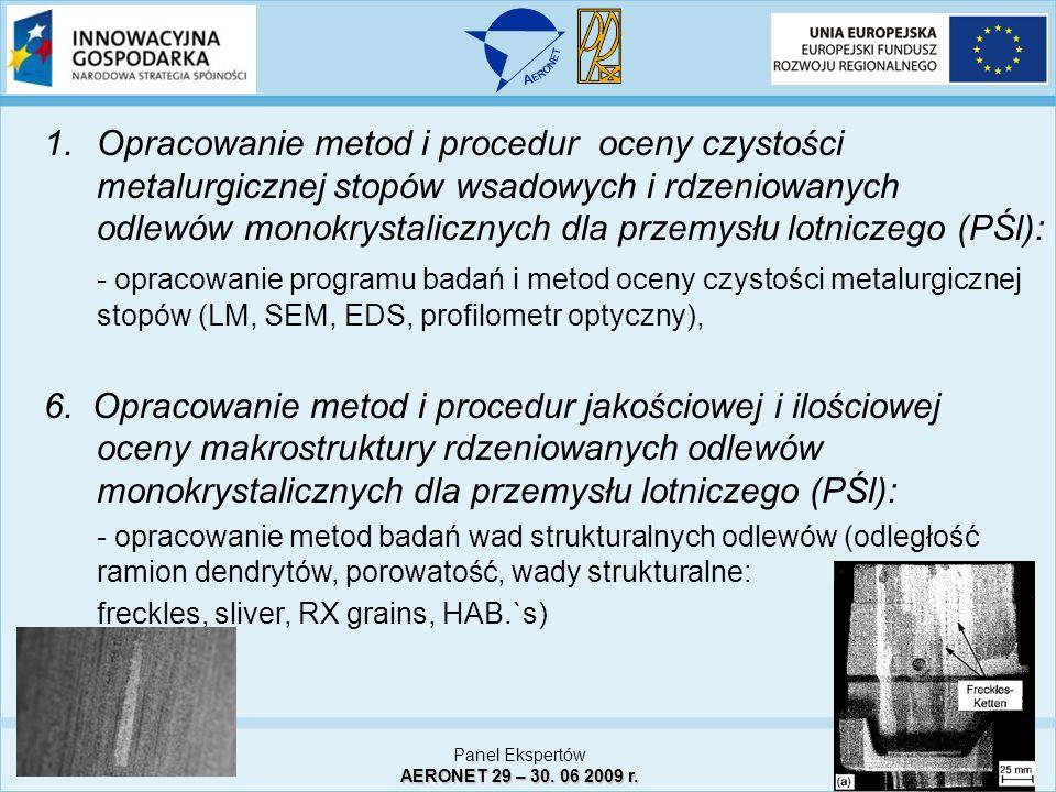 1.Opracowanie metod i procedur oceny czystości metalurgicznej stopów wsadowych i rdzeniowanych odlewów monokrystalicznych dla przemysłu lotniczego (PŚ