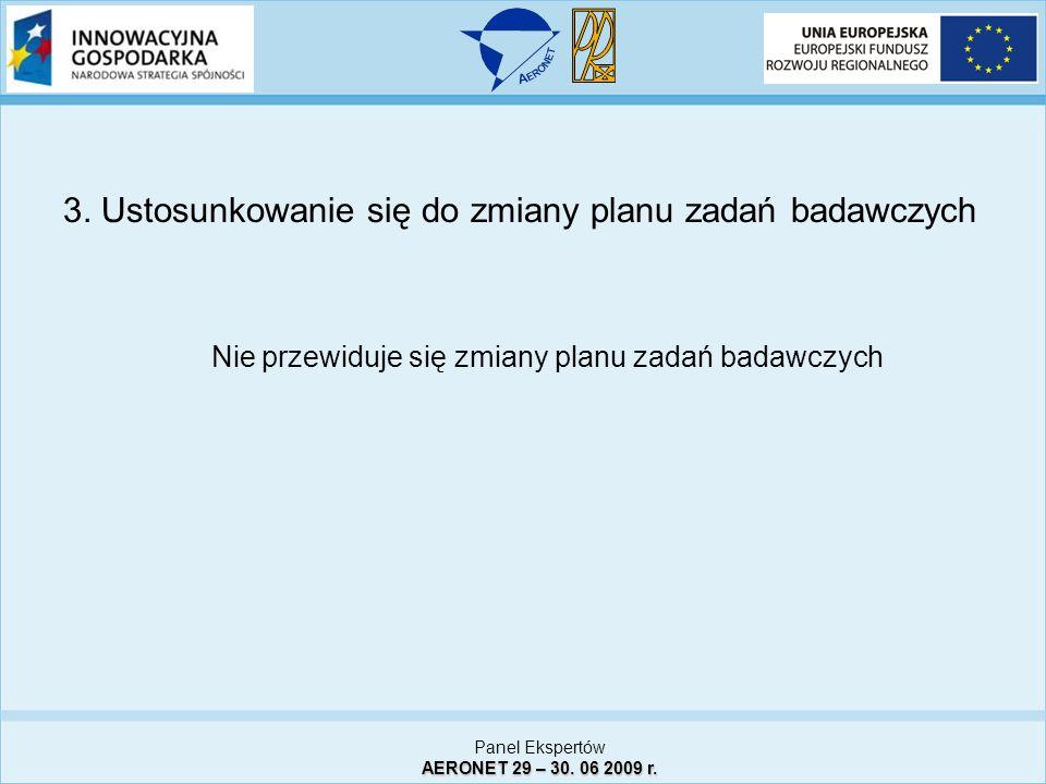 3. Ustosunkowanie się do zmiany planu zadań badawczych Nie przewiduje się zmiany planu zadań badawczych Panel Ekspertów AERONET 29 – 30. 06 2009 r.