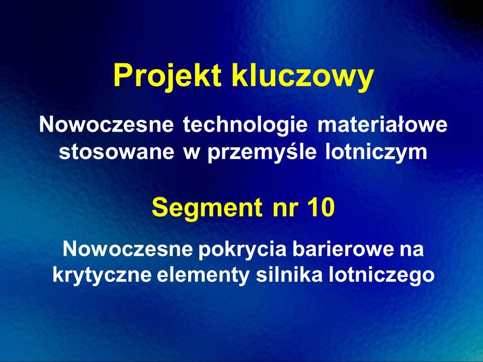 Projekt kluczowy Nowoczesne technologie materiałowe stosowane w przemyśle lotniczym Segment nr 10 Nowoczesne pokrycia barierowe na krytyczne elementy