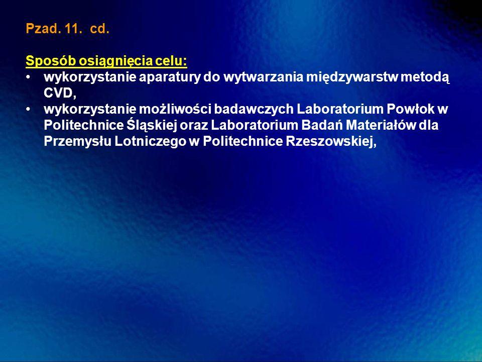 Pzad. 11. cd. Sposób osiągnięcia celu: wykorzystanie aparatury do wytwarzania międzywarstw metodą CVD, wykorzystanie możliwości badawczych Laboratoriu