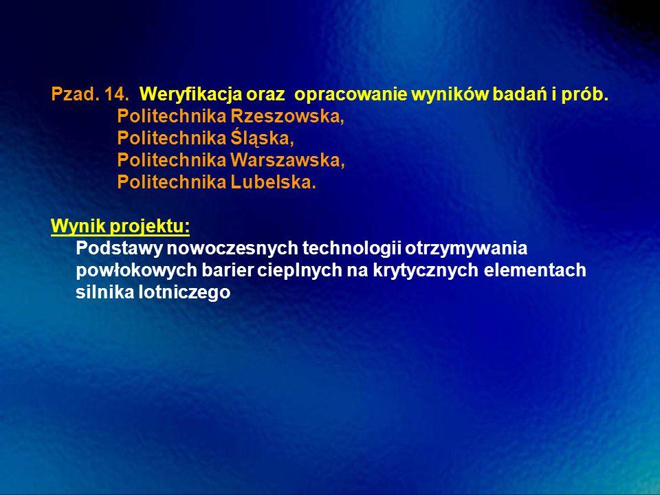 Pzad. 14. Weryfikacja oraz opracowanie wyników badań i prób. Politechnika Rzeszowska, Politechnika Śląska, Politechnika Warszawska, Politechnika Lubel