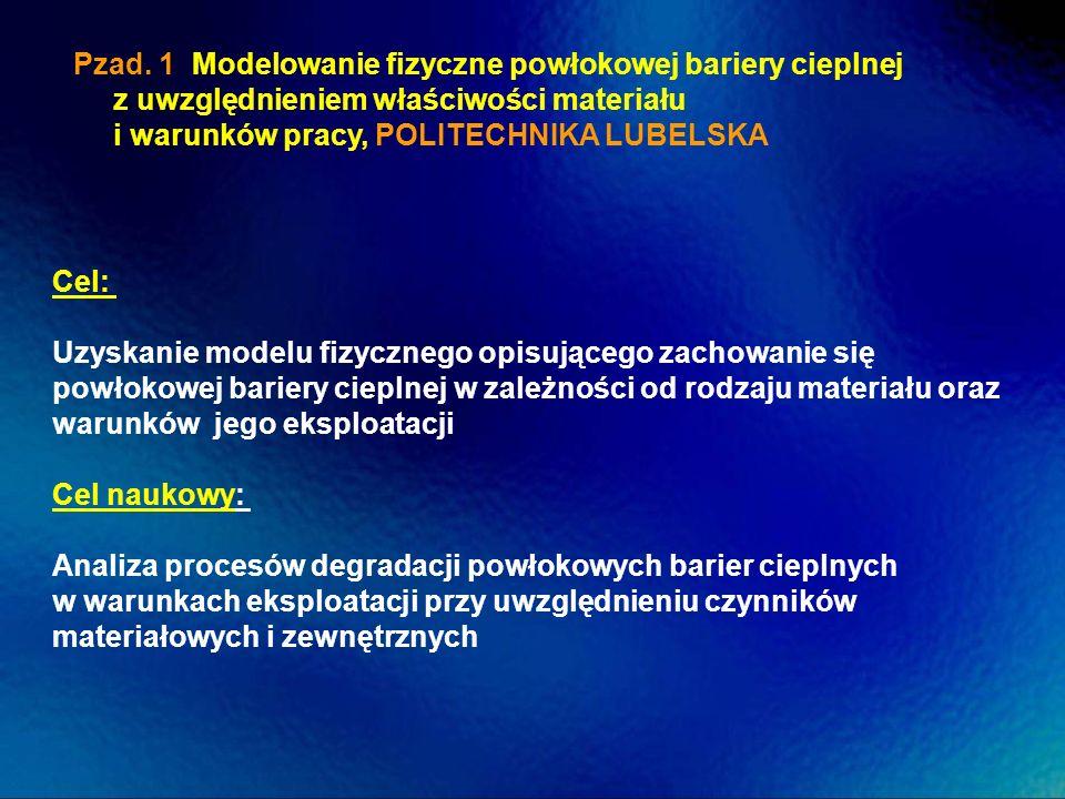 Pzad. 1 Modelowanie fizyczne powłokowej bariery cieplnej z uwzględnieniem właściwości materiału i warunków pracy, POLITECHNIKA LUBELSKA Cel: Uzyskanie