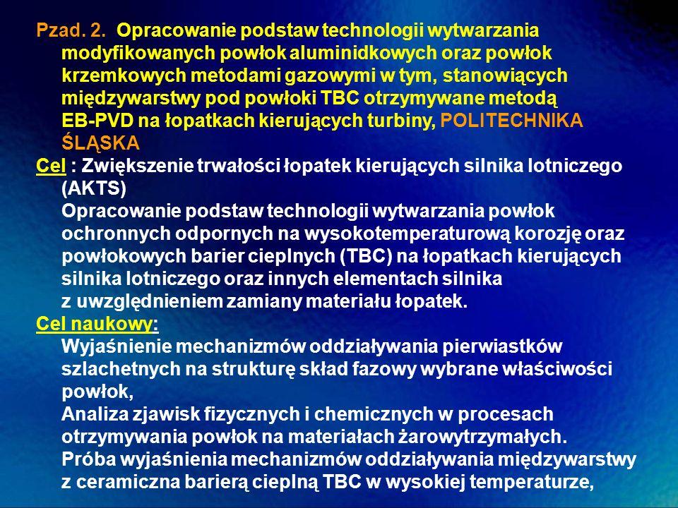 Pzad. 2. Opracowanie podstaw technologii wytwarzania modyfikowanych powłok aluminidkowych oraz powłok krzemkowych metodami gazowymi w tym, stanowiącyc