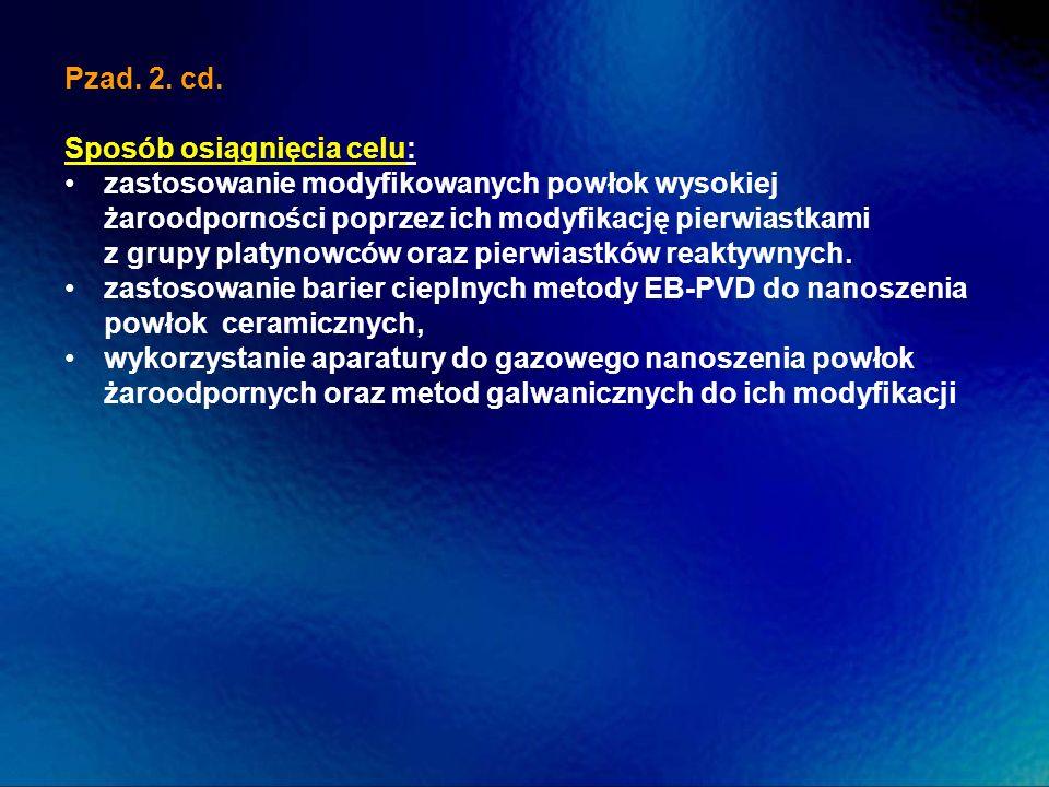 Pzad. 2. cd. Sposób osiągnięcia celu: zastosowanie modyfikowanych powłok wysokiej żaroodporności poprzez ich modyfikację pierwiastkami z grupy platyno