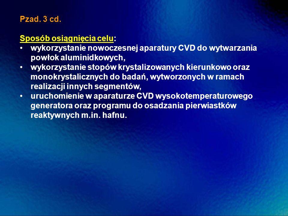 Pzad. 3 cd. Sposób osiągnięcia celu: wykorzystanie nowoczesnej aparatury CVD do wytwarzania powłok aluminidkowych, wykorzystanie stopów krystalizowany