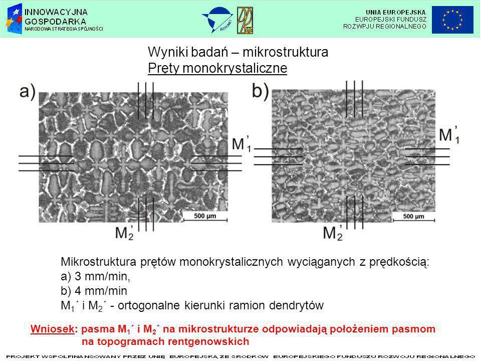 Wyniki badań – mikrostruktura Pręty monokrystaliczne Mikrostruktura prętów monokrystalicznych wyciąganych z prędkością: a) 3 mm/min, b) 4 mm/min M 1 ´