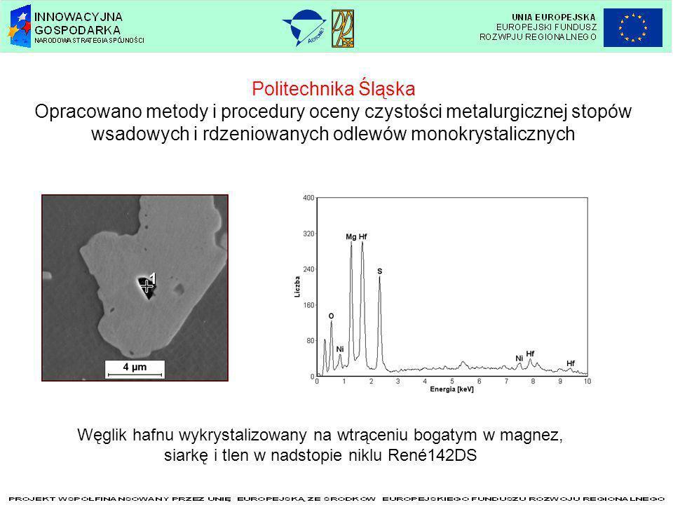 Politechnika Śląska Opracowano metody i procedury oceny czystości metalurgicznej stopów wsadowych i rdzeniowanych odlewów monokrystalicznych Węglik ha