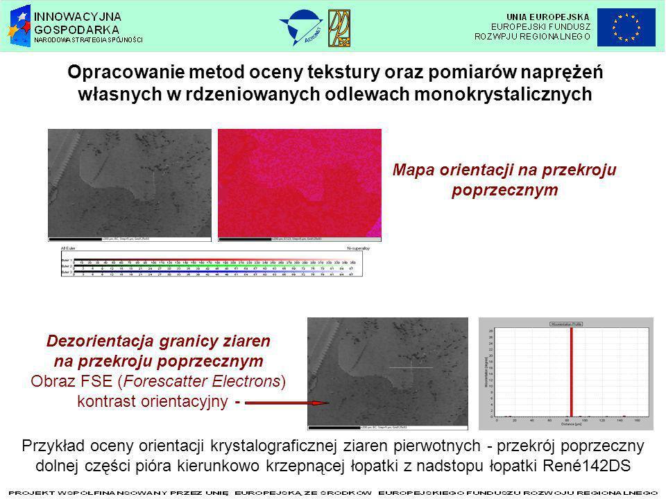 Opracowanie metod oceny tekstury oraz pomiarów naprężeń własnych w rdzeniowanych odlewach monokrystalicznych Mapa orientacji na przekroju poprzecznym