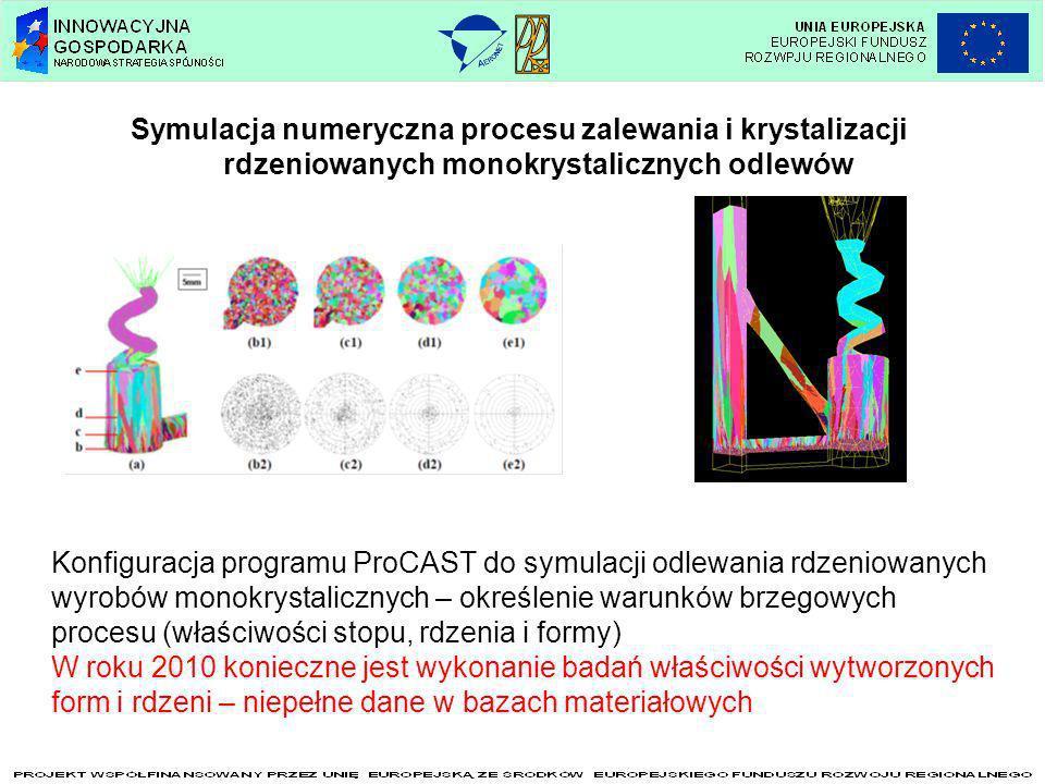 Symulacja numeryczna procesu zalewania i krystalizacji rdzeniowanych monokrystalicznych odlewów Konfiguracja programu ProCAST do symulacji odlewania r