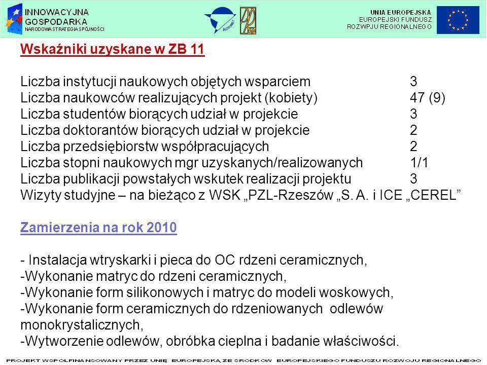 Wskaźniki uzyskane w ZB 11 Liczba instytucji naukowych objętych wsparciem3 Liczba naukowców realizujących projekt (kobiety)47 (9) Liczba studentów bio