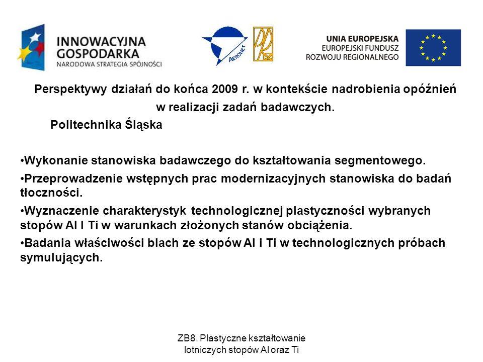 ZB8. Plastyczne kształtowanie lotniczych stopów Al oraz Ti Perspektywy działań do końca 2009 r. w kontekście nadrobienia opóźnień w realizacji zadań b