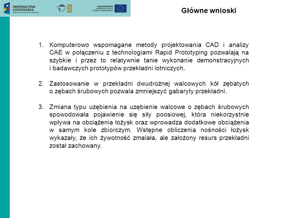 Główne wnioski 1.Komputerowo wspomagane metody projektowania CAD i analizy CAE w połączeniu z technologiami Rapid Prototyping pozwalają na szybkie i p