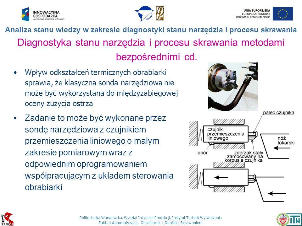 Politechnika Warszawska, Wydział Inżynierii Produkcji, Instytut Technik Wytwarzania Zakład Automatyzacji, Obrabiarek i Obróbki Skrawaniem Analiza stan