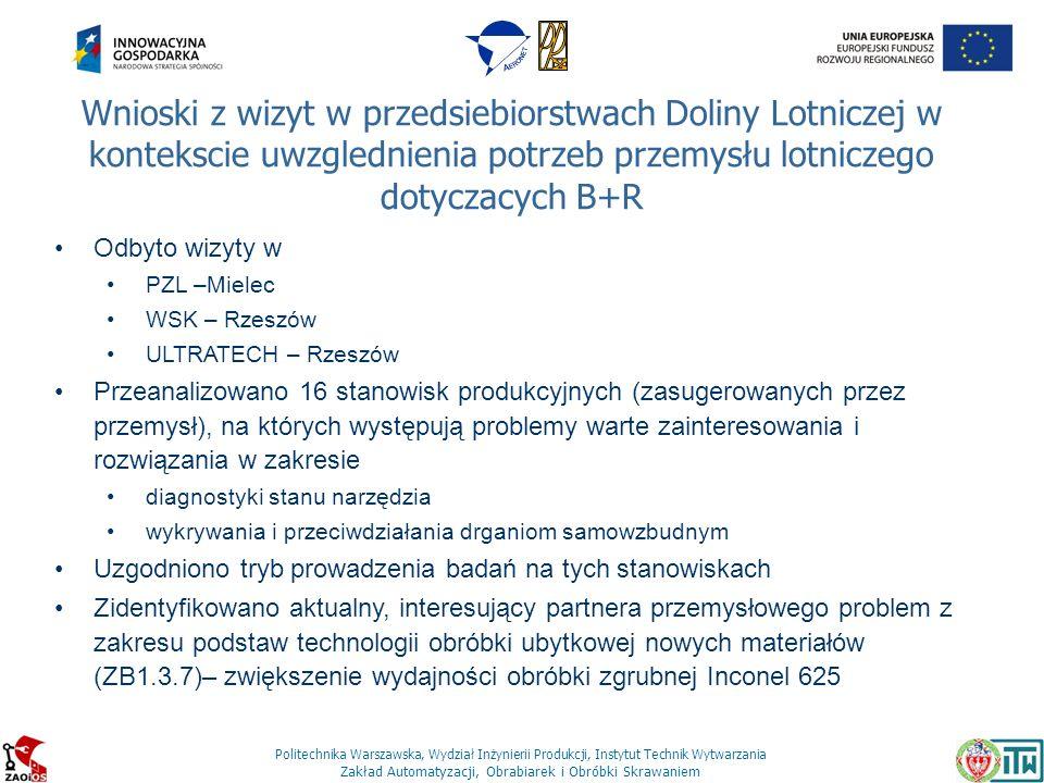 Politechnika Warszawska, Wydział Inżynierii Produkcji, Instytut Technik Wytwarzania Zakład Automatyzacji, Obrabiarek i Obróbki Skrawaniem Wnioski z wi