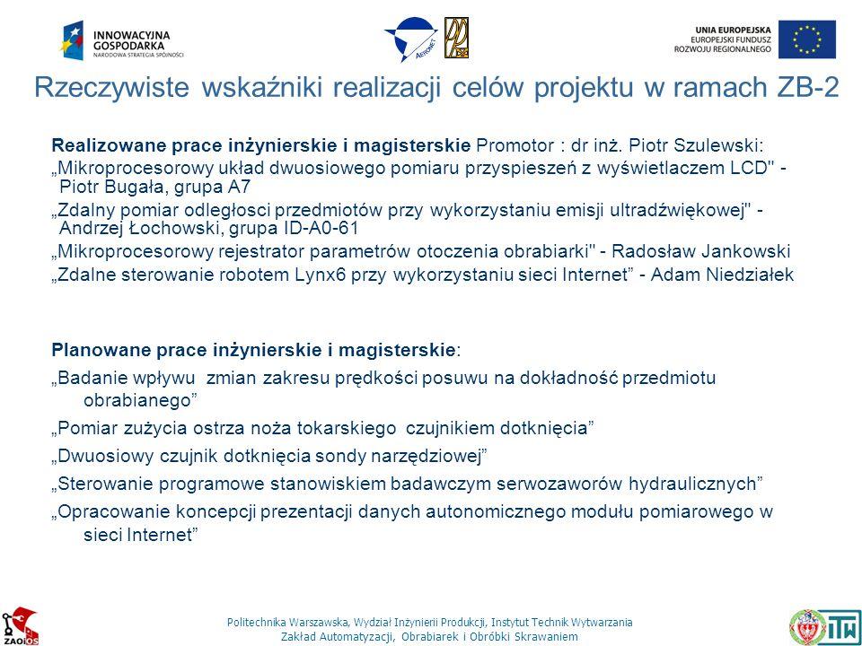 Politechnika Warszawska, Wydział Inżynierii Produkcji, Instytut Technik Wytwarzania Zakład Automatyzacji, Obrabiarek i Obróbki Skrawaniem Realizowane